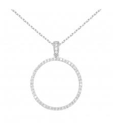 Collier Cercle de Vie - Pendentif Or Blanc et Zirconiums - Femme