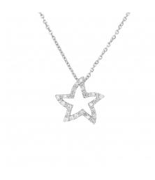 Collier Etoile Or Blanc et Diamant - Femme