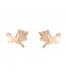 Boucles d'Oreilles Licornes - Or Jaune - Enfant
