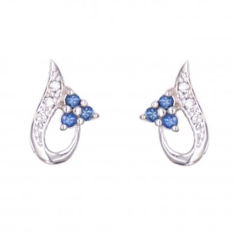 Boucles d'Oreilles Or Blanc - Saphirs Bleus et Zirconiums - Femme