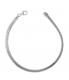 Bracelet Or Blanc Maille Anglaise - Femme