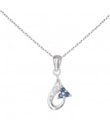 Collier - Pendentif Or Blanc, Saphirs Bleus et Zirconiums - Femme