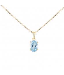 Collier - Pendentif Or Jaune Topaze Bleue Ovale - Femme