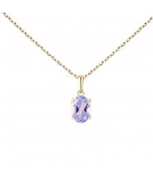 Collier Femme Or Jaune - Pendentif Topaze Bleue