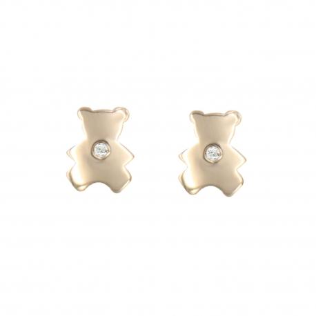 Boucles d'Oreilles Ourson - Or Jaune et Diamant - Enfant