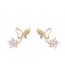 Boucles d'Oreilles Papillons - Or Jaune et Zirconiums - Femme ou Enfant