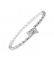 Bracelet Jonc Argent 925/000 - Coeurs Pavés de Zirconiums - Femme