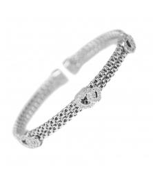 Bracelet Jonc Argent 925/000 - Coeur Pavés de Zirconiums - Femme