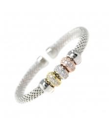 Bracelet Jonc Argent 925/000 - Pavés de Zirconiums - Femme