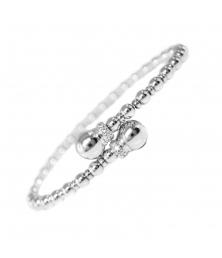 Bracelet Jonc Argent 925/000 - Boules et Pavage Zirconiums - Femme