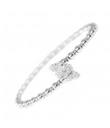 Bracelet Jonc Argent 925/000 - Papillons Pavés de Zirconiums - Femme