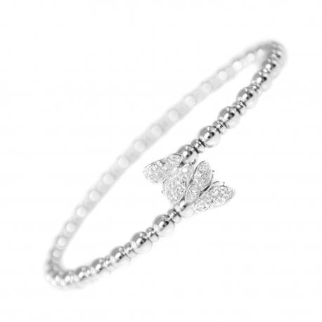 Bracelet Jonc Argent 925/000 - Barrette Pavée de Zirconiums - Femme