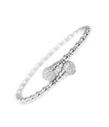 Bracelet Jonc Ouvert Argent 925/000 Coeurs Pavés de Zirconiums - Femme