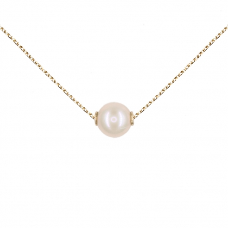 Collier Femme Or Jaune Véritable - Pendentif Perle