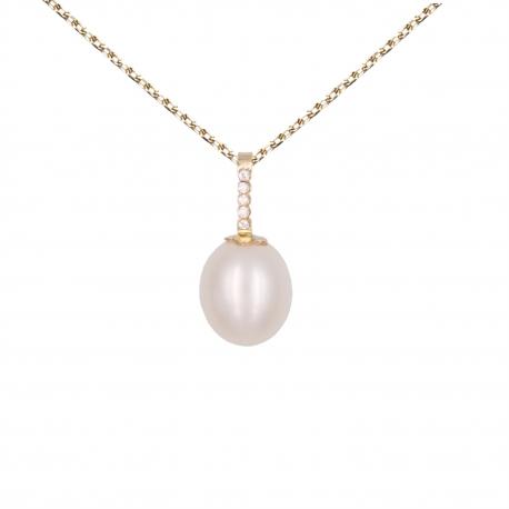 Collier - Pendentif Perle Or Jaune Pavé de Zirconiums - Femme