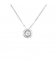 Collier Or Blanc Solitaire Diamant - Pendentif - Femme