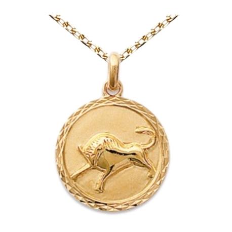 Zodiaque Taureau - Médaille Plaqué Or Jaune 750