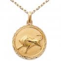 Zodiaque Taureau - Médaille Plaqué Or Jaune 750 - Gravure Offerte