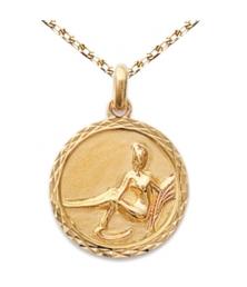 Zodiaque Vierge - Médaille Plaqué Or Jaune 750 - Gravure Offerte
