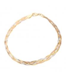 Bracelet Tresse Trois Ors - Or Tricolore Jaune, Blanc et Rose - Femme