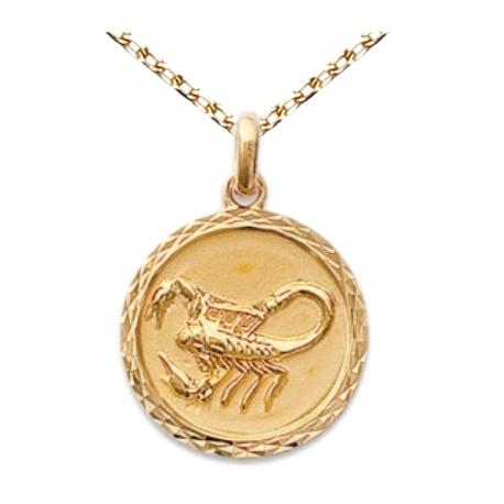 Zodiaque Scorpion - Médaille Plaqué Or Jaune 750 - Gravure Offerte