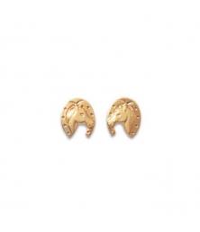 Boucles d'Oreilles Cheval - Plaqué Or Jaune 750 - Femme ou Enfant