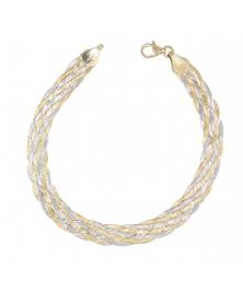 Bracelet Tresse Deux Ors - Or Bicolore Jaune et Blanc - Femme