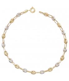 Bracelet Maille Grain de Café Jaune et Blanc - Or Bicolore - Femme