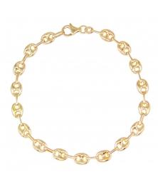 Bracelet Homme ou Femme Or 18 Carats - Maille Grain de Café - Jaune