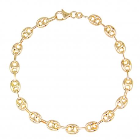 Bracelet Or 18 Carats - Maille Grain de Café - Jaune - Femme