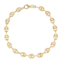 Bracelet Or 18 Carats 750/000 Maille Grain de Café Jaune - Femme