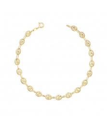 Bracelet Or Jaune Maille Grain de Café - Femme
