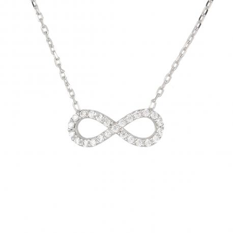 Collier Or Blanc - Inifini Pavé de Zirconiums - Femme
