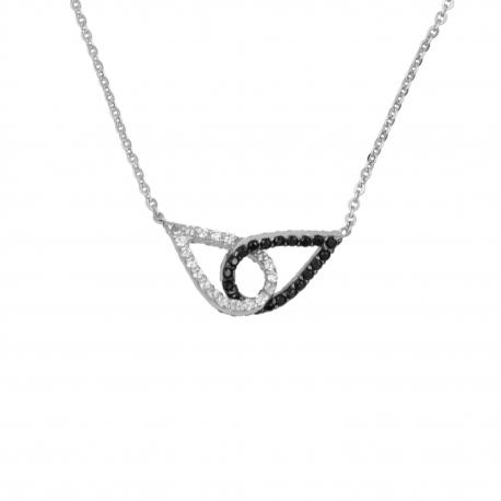 Collier Or Blanc Gouttes Enlacés Pavés de Zirconiums - Femme