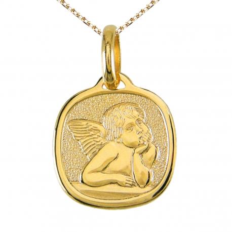 Médaille Ange Or Jaune - Gravure et Chaîne Dorée Offerte