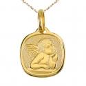 Médaille Ange Or Jaune - Gravure et Chaîne Dorée Offertes
