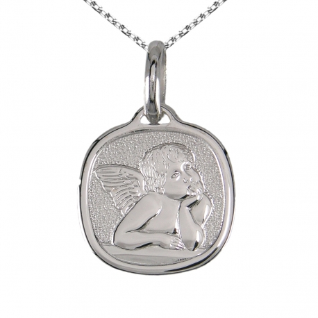 Médaille Ange Or Blanc - Gravure et Chaîne Argent 925/0000 Offerte