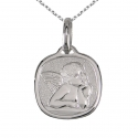 Médaille Ange Or Blanc - Gravure et Chaîne Argent Offertes