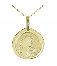 Médaille Vierge Or Jaune - Gravure et Chaîne Dorée Offertes