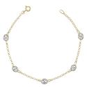 Bracelet Femme Or Bicolore - Maille Grain de Café Jaune et Blanc