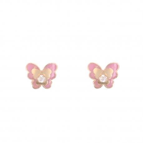 Boucles d'Oreilles Papillons - Or Jaune - Enfant