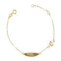 Bracelet Enfant Or Jaune - Gourmette - Licorne - Gravure Offerte
