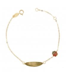 Bracelet Enfant Or Jaune - Gourmette - Coccinelle - Gravure Offerte