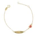 Bracelet Enfant Or Jaune - Gourmette - Coeur - Gravure Offerte