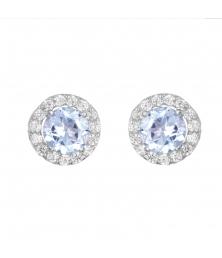 Boucles d'Oreilles Or Blanc Topazes Bleues et Zirconiums - Femme