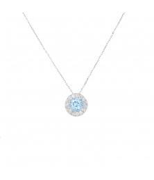 Collier Femme Or Blanc - Pendentif Topaze Bleue et Zirconiums