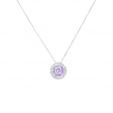 Collier Femme Or Blanc - Pendentif Améthyste et Zirconiums