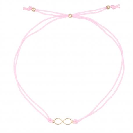 Bracelet Infini Or Jaune - Cordon Rose - Femme