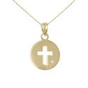 Collier - Pendentif Or et Diamant - Médaille Croix- Femme ou Enfant