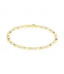 Bracelet Or Bicolore Maille Alternée 1+1 - Homme